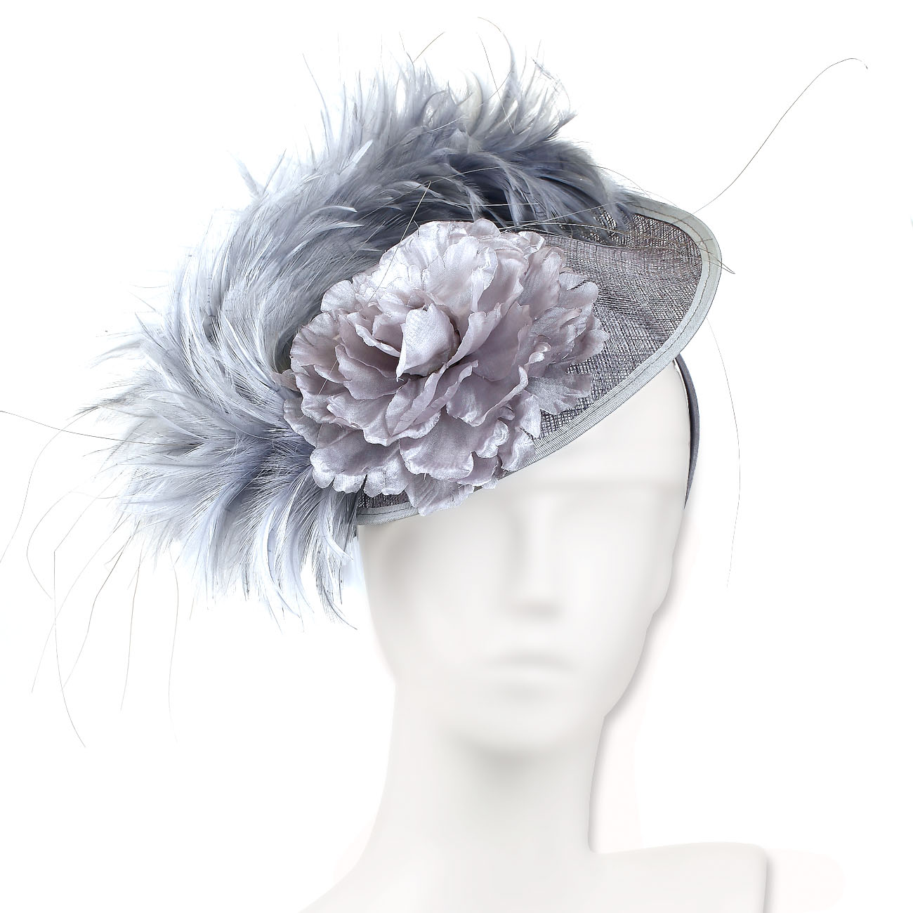Boa Feather & Flower Big Wedding Fascinator Hat,Mother Of
