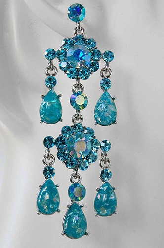 alternate view of sapphire chandelier earrings