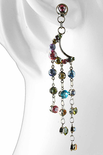 close-up view of multicolored Swarovski crystal earrings