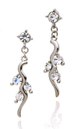 closeup of costume jewellery wedding set crystal earrings