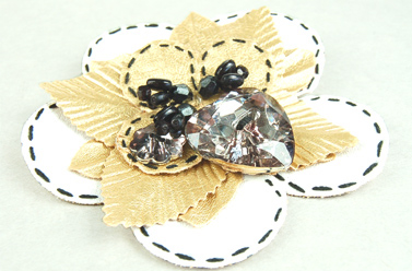 cream and clear flower corsage brooch pin