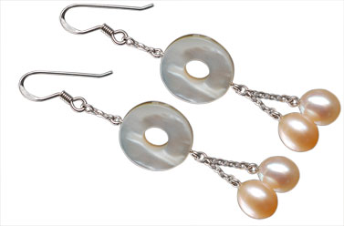 detail of .925 sterling silver and mother of pearl drop earrings