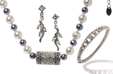 pewter, silver, and pearl wedding jewellery set