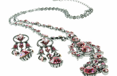 amethyst and antiqued silver costume jewellery necklace set
