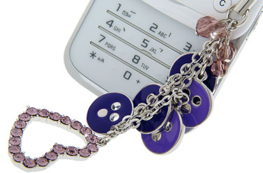 purple cell phone charm for Jessica Alba