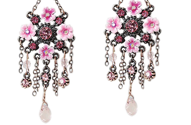 pink swarovski chandelier earrings