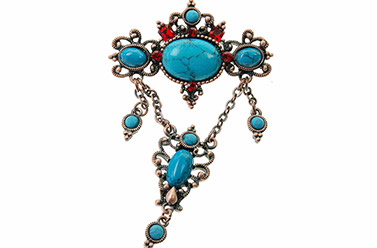 turquoise brooch with red crystals