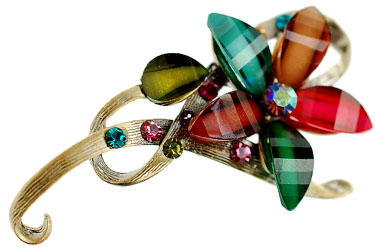 multi-colored costume jewellery brooch